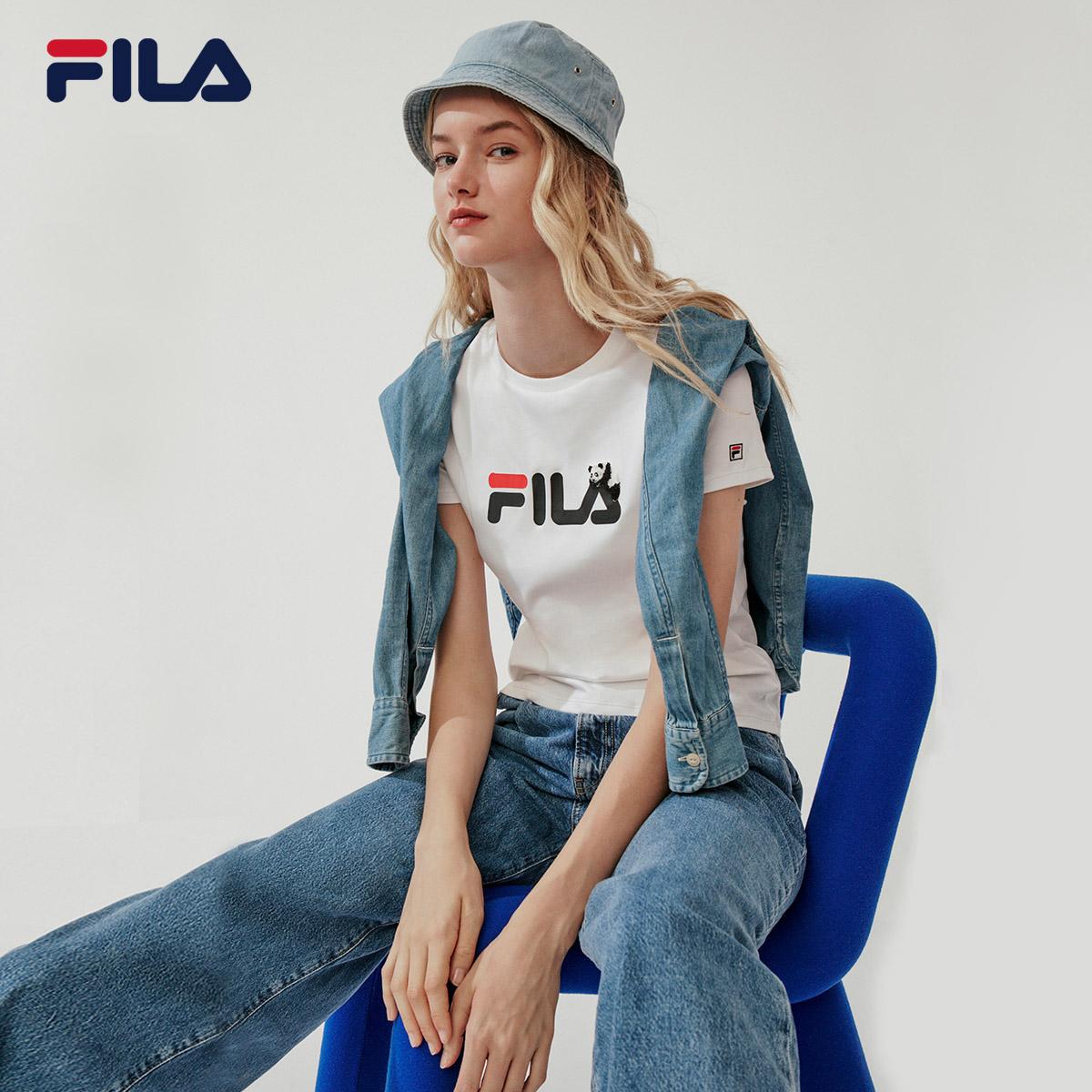 FILA 斐乐官方 女子短袖T恤 2020春季新款休闲运动熊猫主题打底衫