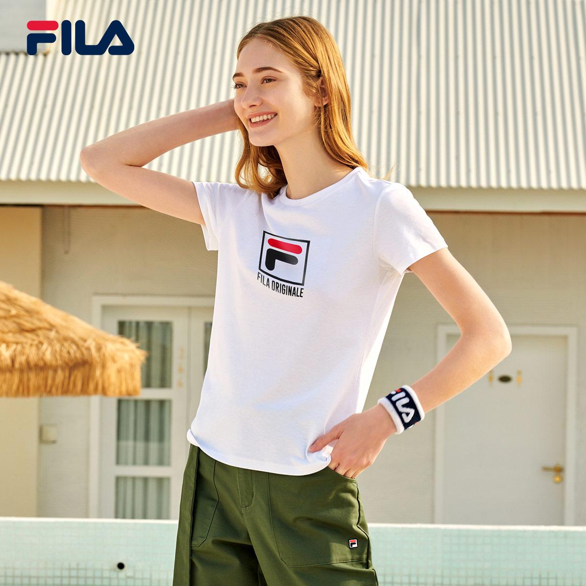 FILA 斐乐官方 女子短袖T恤 2020春季新款时尚休闲运动上衣打底衫