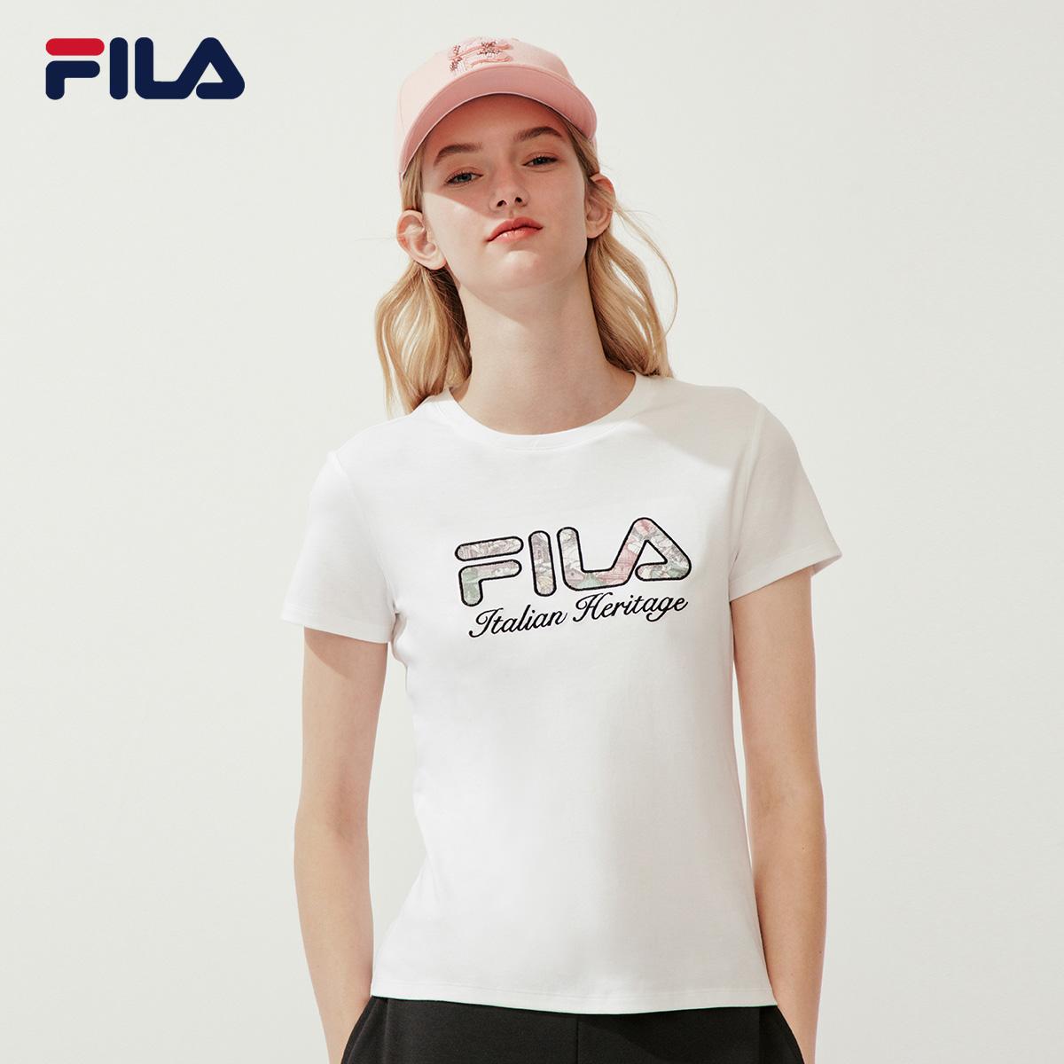 FILA斐乐官方女子短袖T恤2020春款运动时尚生活休闲服打底衫