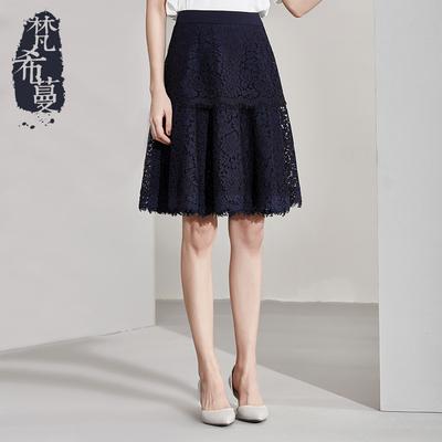 梵希蔓蕾丝裙半身裙网纱显瘦镂空高腰蛋糕裙女百搭优雅A字款中裙