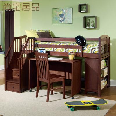 美式实木高低床双层床上下床多功能书桌床组合床儿童床高架床定制图片