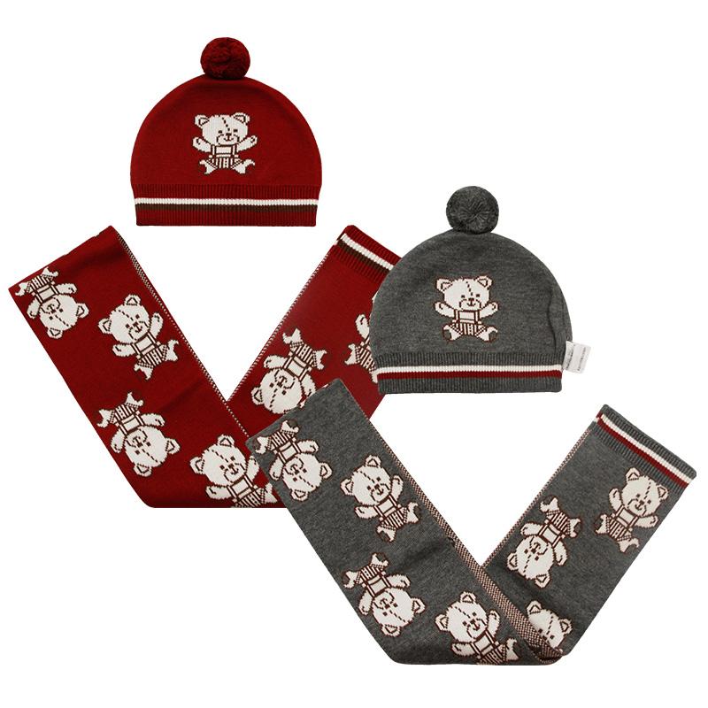 拉比LQDBP20401萌熊棉线两件套帽子+围巾婴儿儿童2017冬款