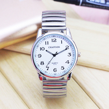 The elderly leisure elastic strap watch clear font large Numbers male ms quartz wrist watch waterproof dad