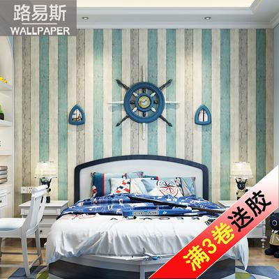 环保墙纸地中海风格竖条纹复古怀旧木纹卧室客厅儿童房无纺布壁纸爆款