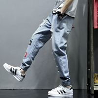 Summer new casual hole jeans men's plus fat large size fat loose harem pants Korean version of the trend of men's pants