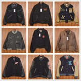 Vintage vintage double-sleeved leather cowhide Embroidered badge baseball uniform jacket woolen boutique coat collection 2
