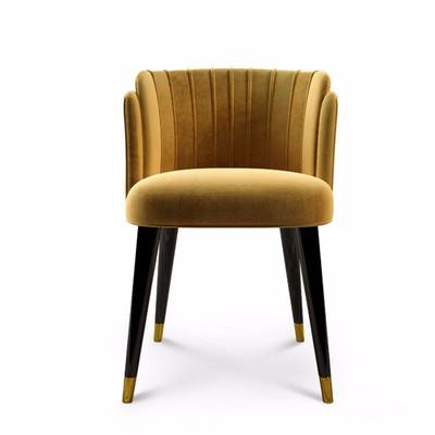 现代布艺实木餐椅创意绒布椅子北欧简约实木棉麻餐椅咖啡休闲书椅官方旗舰店