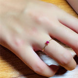 18K yellow gold precision inlaid natural ruby ​​ring simple Japanese and Korean clear new fashion to send girlfriend