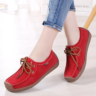 夏季系带蜗牛鞋真皮女单鞋平跟休闲鞋镂空透气妈妈鞋软底洞洞女鞋