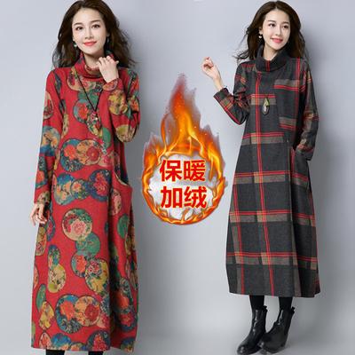 冬季女装英伦气质宽松大码高领呢子连衣裙高领长裙打底裙加绒加厚
