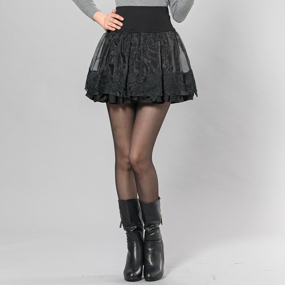 欧根纱短裙冬