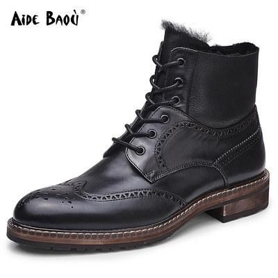 爱得堡马丁靴男靴子男高帮皮靴男皮毛一体男英伦保暖短靴男羊毛靴
