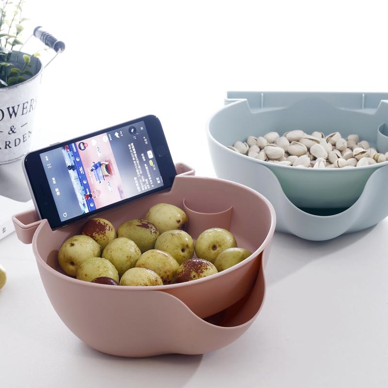 懒人果盒家用双层可放手机嗑瓜子干果盘客厅塑料多用水果盘可沥水
