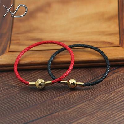 可穿3D硬金饰品真皮皮绳手链转运珠路路通配绳手绳男女本命年红绳