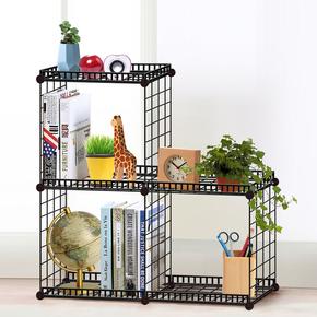 菲斯卡时尚简易多功能组装书架桌上创意整理收纳架学生铁网置物架