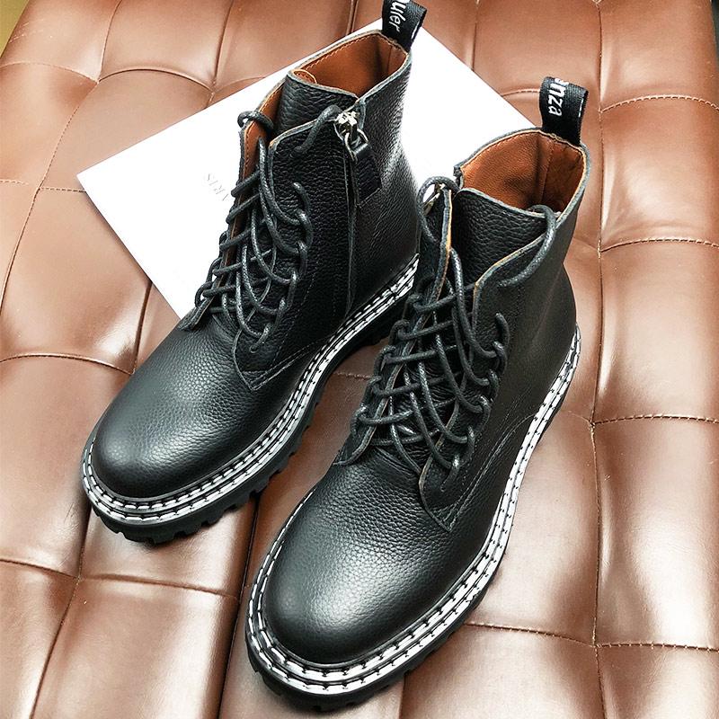 欧美时尚真皮马丁靴女复古英伦风高帮厚底中筒靴牛皮机车骑士靴女