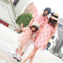 亲子装夏装一家三口2019网红新款甜美洋气母女装婴幼儿四口连衣裙