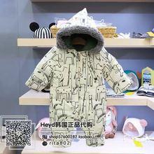 小雨伞韩国童装 19小云朵冬季新款男女童宝宝带帽加厚爬服 连体衣