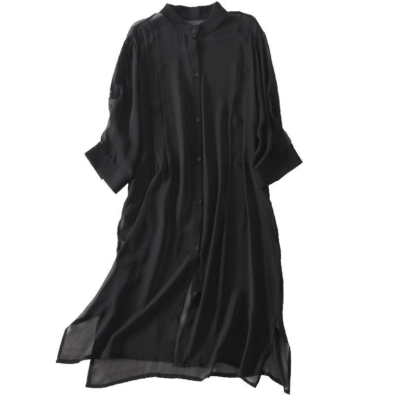 真丝外搭女中长款防晒衣大码夏季薄外套桑蚕丝外披长开衫黑色百搭