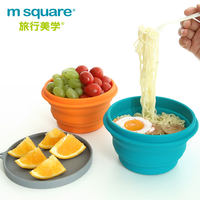 Silicone folding bowl travel portable tableware compression bowl telescopic bowl portable picnic lunch box collapsible outdoor bowl