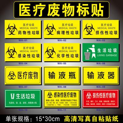 医院垃圾分类标识感染性损伤性药物性病理性化学性医疗废弃物暂存处提示贴纸废物种类标签医疗废物存放点标示