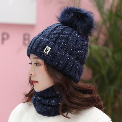 帽子女冬天潮加绒毛线帽韩版青年甜美可爱女士秋冬针织帽围脖保暖
