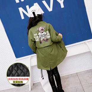 雨星雨嫣【19765O】2017冬韩版女童中长款军绿夹棉加厚风衣外套
