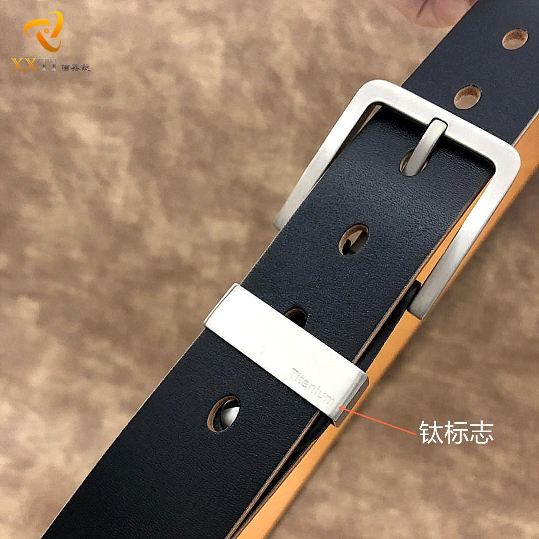纯钛植鞣皮带男真皮针扣钛合金头层牛皮简约百搭中年休闲牛仔腰带