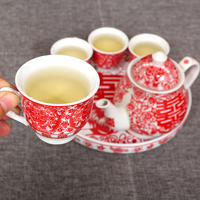 Leiyun Newcomer Red Tea Cup Set Creative Ceramic Chinese Teapot Wedding Gifts Wedding Supplies