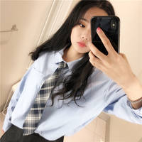 Ins tie girl Harajuku plaid net red lazy free of tide shirt handsome Japanese college wind JK uniform small