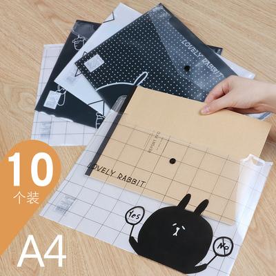 学生A4文件袋透明批发韩国小清新少女心按扣袋防水塑料加厚办公用