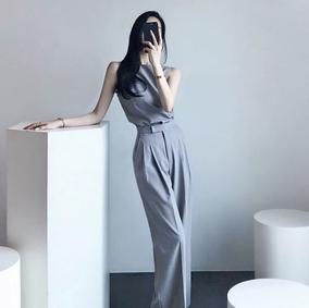 2018女装无袖圆领雪纺衫长裤高腰阔腿冷淡风气质显瘦收腰时尚套装