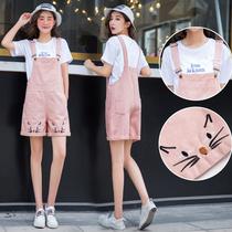 12-13-14-15-11岁大童女孩初中学生韩版夏装宽松牛仔短裤裙背带裤