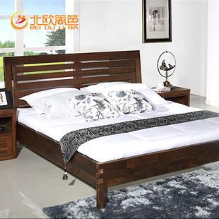 北欧篱笆纯北美黑胡桃木双人床全实木床1.8米婚床 简约现代