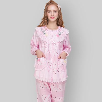 欣琦丝新款纯棉梭织薄款睡衣女士圆领花边长袖家居服可外穿21810