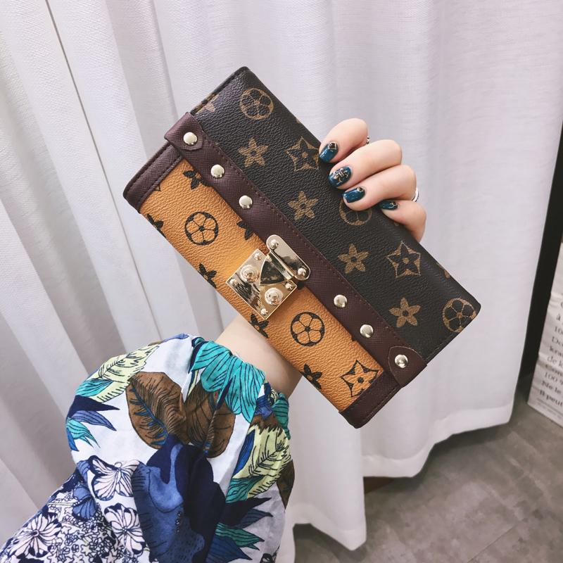 新款韩版钱包女长款2017简约百搭印花锁扣复古学生女士钱夹零钱包5元优惠券