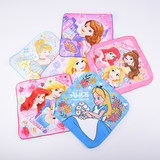 Cotton cute cartoon square scarf Princess series Children baby wash small towel girl square cotton square towel