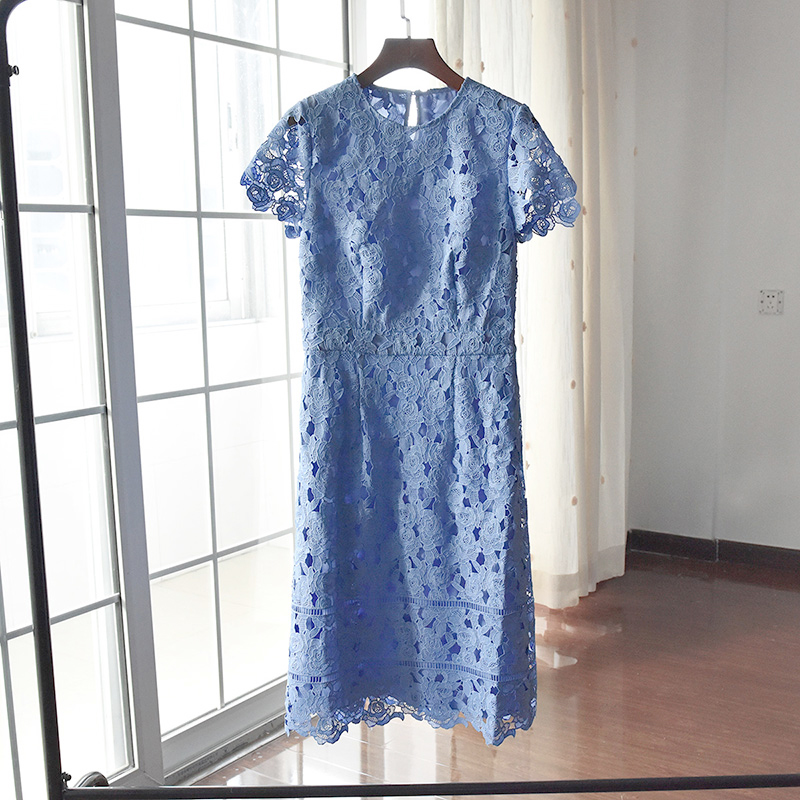 纯原少量出口英国重工水溶蕾丝短袖连衣裙微胖MMUK