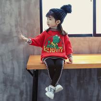 女宝宝秋冬装加绒加厚女童新款中长款时髦卫衣两件套韩版洋气套装