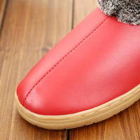 Haining leather slippers winter home warm bag heel cotton shoes for men and women non-slip beef tendon cotton slippers