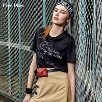 纯棉宽松印花T恤女短袖2018新款Five Plus夏装卡通打底衫字母套头