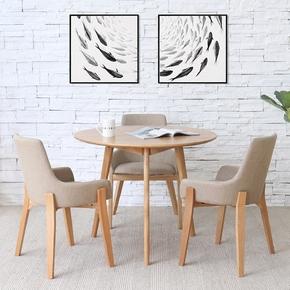 北欧洽谈桌椅组合原木家具日式风格简约小圆桌咖啡厅实木圆形餐桌