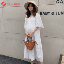 Pregnant women's skirt summer dress white fashion cotton lace hollow long short sleeve dress fairy super fairy loose size