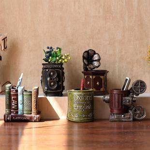 创意复古笔筒客厅办公室桌面装饰品摆件个性实用收纳储物礼物礼品