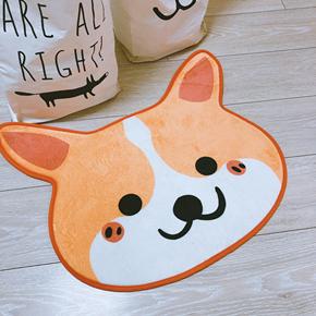 LA WEST超可爱柯基狗狗法兰绒地垫地毯防滑门垫卧室厨房车垫厚