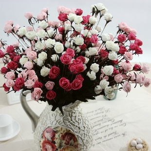 韩式仿真小玫瑰花束家居客厅茶几卧室单支假花装饰品摆件绢花批发