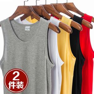 2件装 男士莫代尔背心修身型运动健身纯棉夏季潮男式跨栏打底汗衫