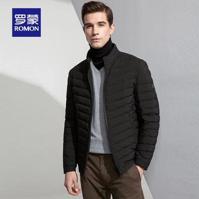 Romon/罗蒙羽绒服男2018新款青年短款修身厚款冬季保暖立领外套男