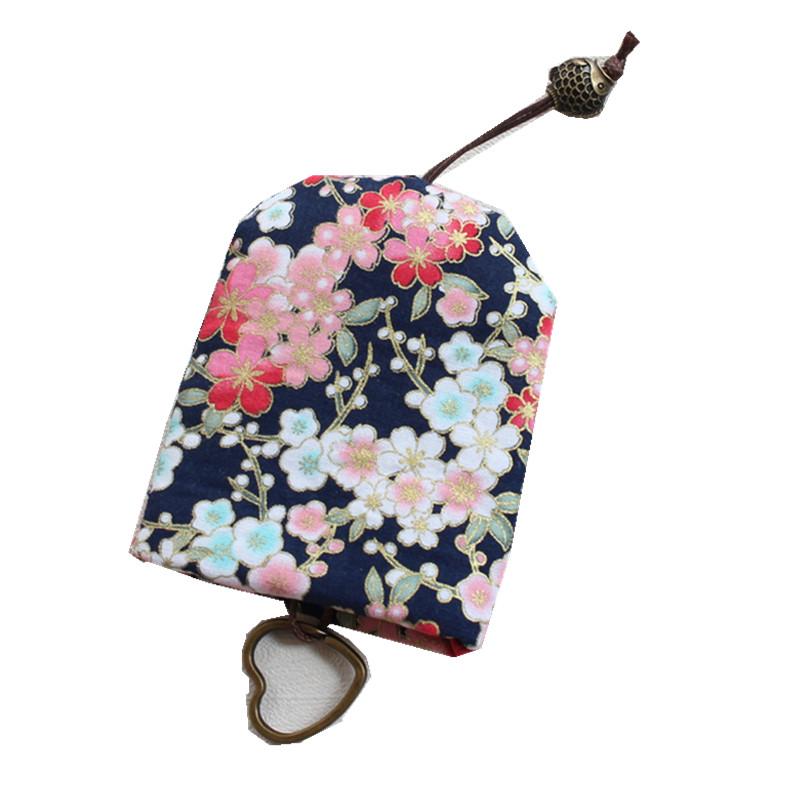 包邮创意手工定制日式和风招财猫樱花防刮抽绳钥匙包抽拉布艺女用