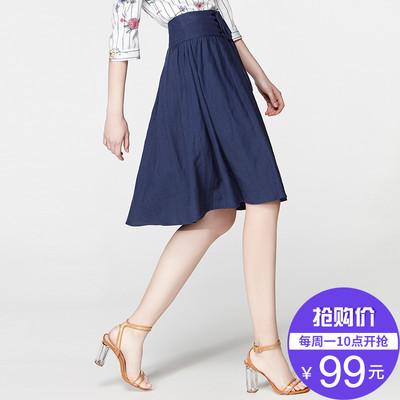 【抢购价99元】2019春季新款棉麻绑带半身裙女显瘦减龄大摆裙中裙